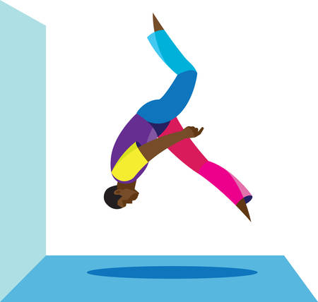 A urban acrobat performs on the roof of a back flip Illustration
