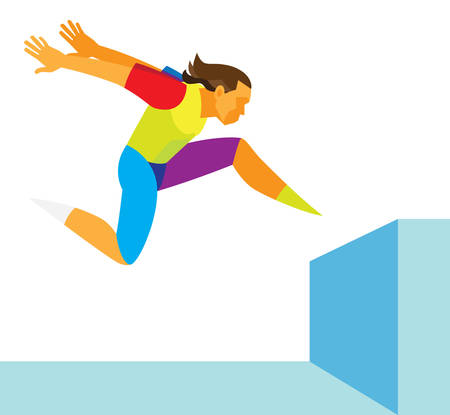 a young free runner jumps an obstacle on the roof Illustration