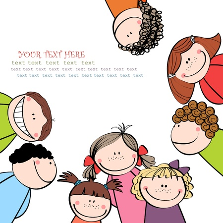 laughter:  background with the image of funny kids  Illustration