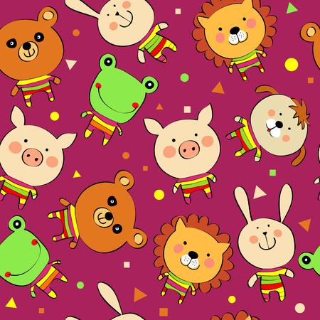 animales del zoo: de fondo sin fisuras con los animales de dibujos animados Vectores