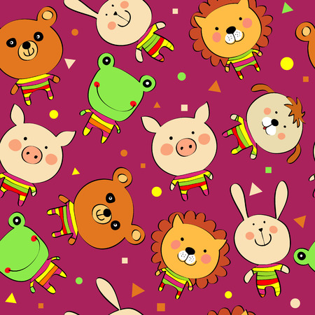 zoo animals: seamless background with cartoon animals