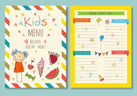 Enfants colorés menu repas template vecteur mignon Vecteurs