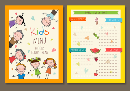 food backgrounds: Cute colorful kids meal menu vector template