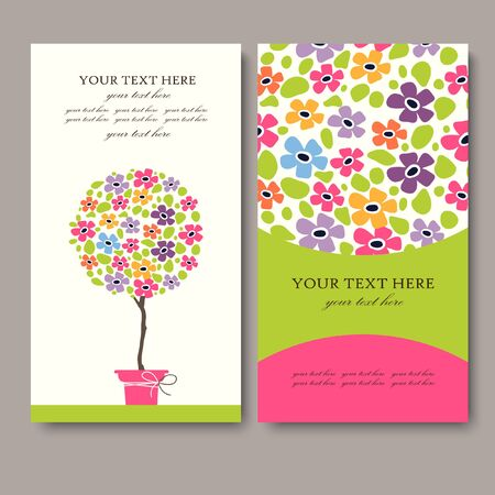business life: business card with spring flower plot