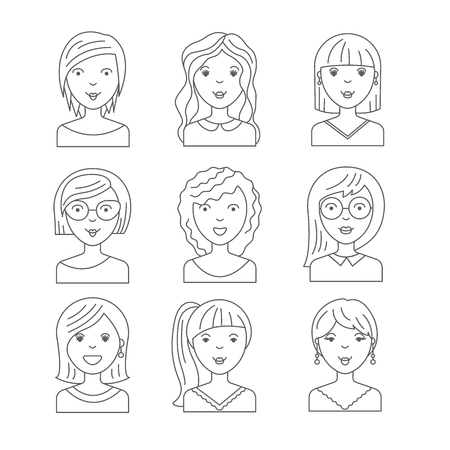 hair dresser: cute illustrations of beautiful young girls with various hair style