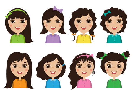 hair style: cute illustrations of beautiful young girls with various hair style