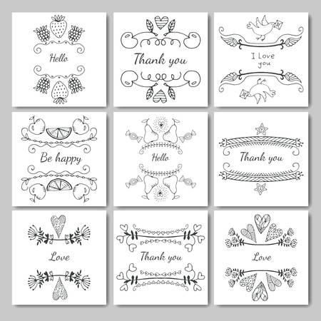frames for text hand-drawn. Set of design elements