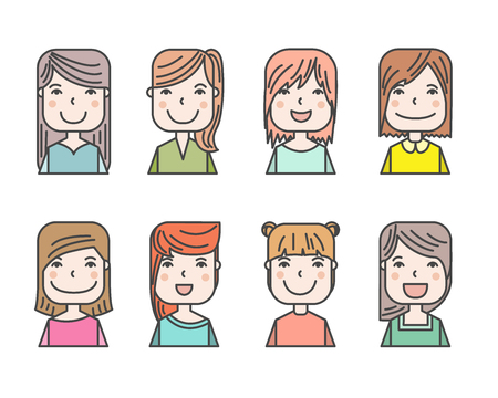 blonde curly hair: cute illustrations of beautiful young girls with various hair style