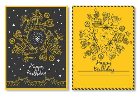 happy feast: Vector Illustration of a Happy Birthday . posters for the invitation to the feast Illustration