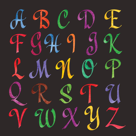 abstract letters: Colorful Watercolor Alphabet. Abstract letters