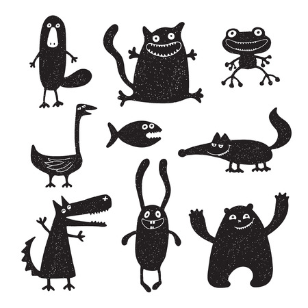 Collection of cartoon funny vector animals silhouettes Ilustrace