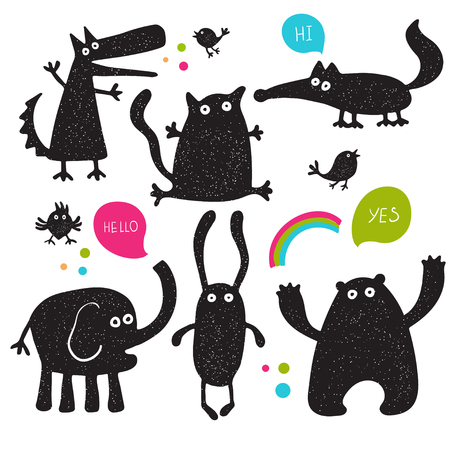 shadow silhouette: Collection of cartoon funny vector animals silhouettes Illustration