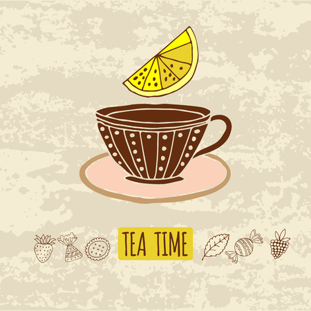 teatime: background with the image of subjects for tea time