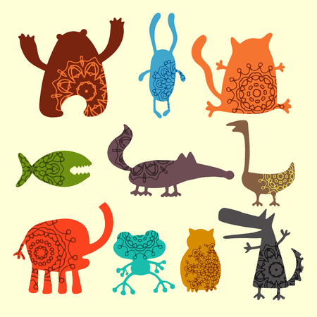 Collection of cartoon funny vector animals silhouettes Illustration