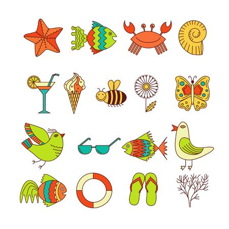Summer Icons with White Background Illustration