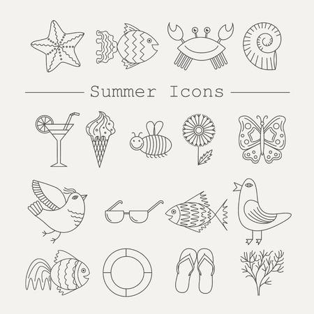 sandal tree: Summer Icons with White Background Illustration