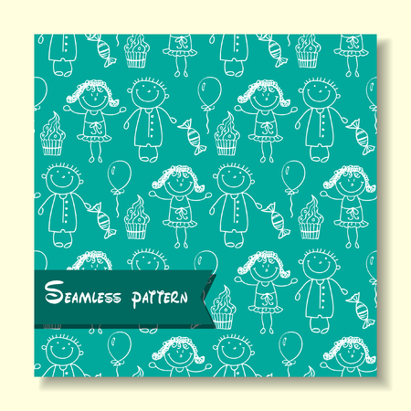 young schoolchild: seamless pattern with the image of children