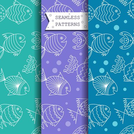 funny fish: seamless pattern with sea fish. vector. funny fish.