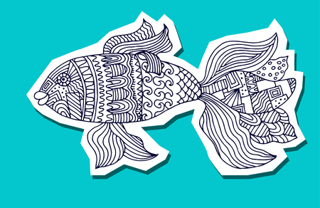 fish form: fish painted by hand. Vector illustration. Graphic arts
