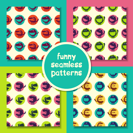 ugly gesture ugly gesture: seamless pattern with monsters. abstract vector illustration