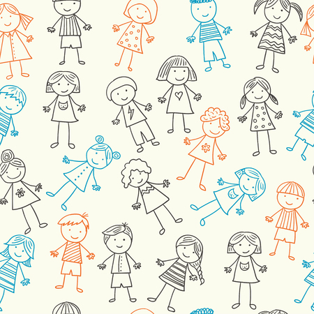 baby girls smiley face: Vector Seamless pattern with kids. boys and girls