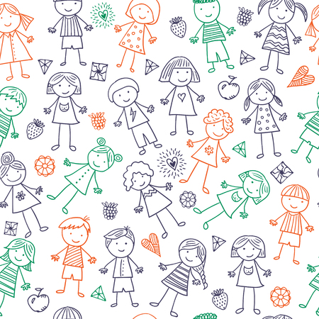 baby girls smiley face: Seamless pattern with kids Illustration
