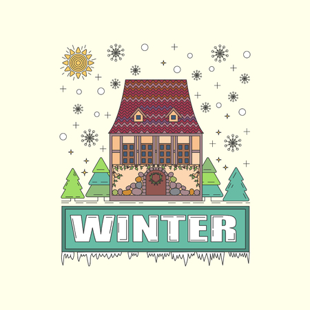 snowy: Detailed winter house on snowy background