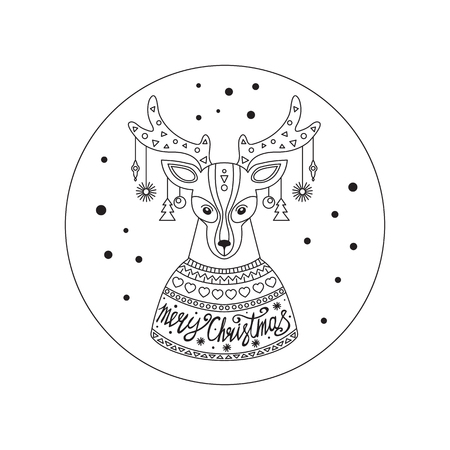 Christmas deer. Merry Christmas and Happy New Year. Illustration