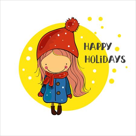 winter girl: girl in a winter cap. Christmas Holidays Illustration
