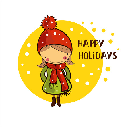 girl in a winter cap. Christmas Holidays Illustration