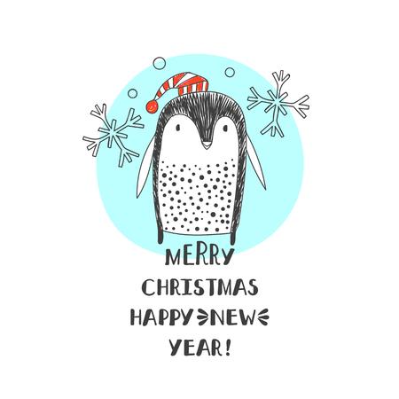 black foot: Abstract penguin in Santa hats. Christmas Holidays. Illustration