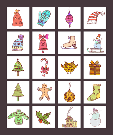 wite: Christmas Icons with wite Background.