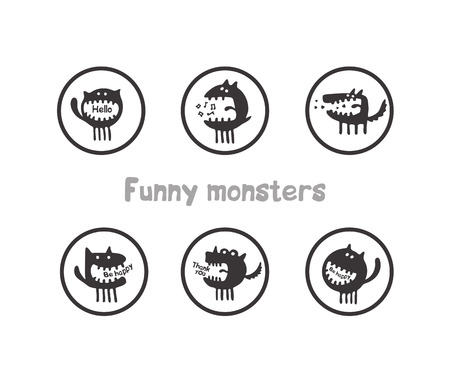 Hand drawn vector poster with cute little monster on a background Illustration