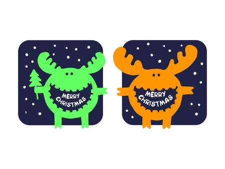 white tail deer: funny moose wishes Merry Christmas. Christmas wishes for an amazing holiday greeting cards. Hand drawn. Illustration