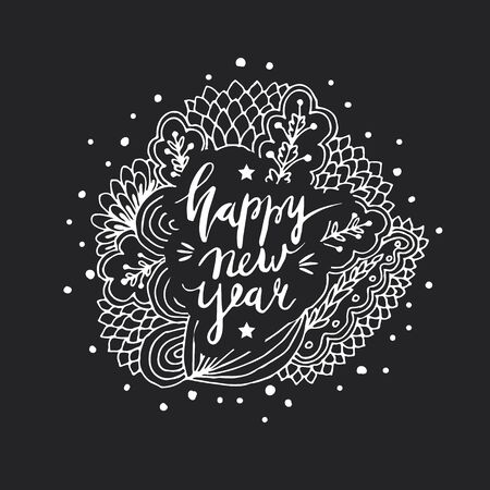 Wonderful handwritten New Year wishes for an amazing holiday greeting cards. Hand drawn lettering.