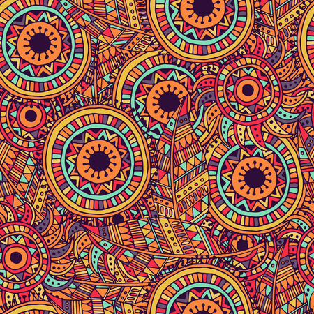 ornamental design: Ethnic seamless pattern with feathers and circles. Stock Photo