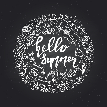 Hand hand drawn summer themed phrases. Modern style lettering. drawn summer themed phrases. Hello Summer.