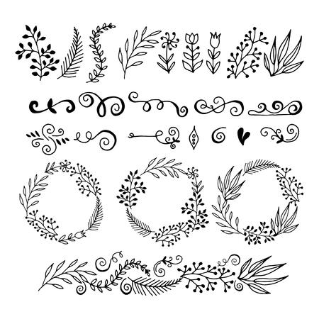 collezione elementi di design grafico floreale. disegnato a mano