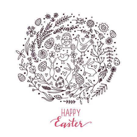 Cartoon vector hand drawn Doodle Happy Easter illustration. Line art detailed design.
