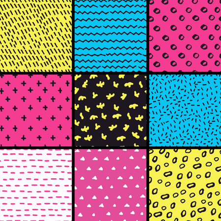 Hand Drawn seamless pattern collection. Simple texture for background, fabric. Illustration