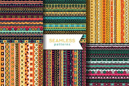 ベクトルは、シームレスなパターンのセットです。自由奔放に生きるスタイル。民族の壁紙。部族芸術の印刷物。  イラスト・ベクター素材