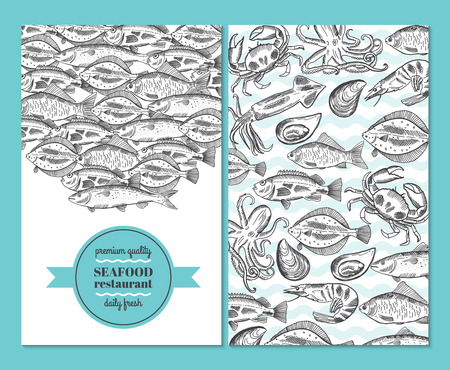 Hand drawn vector seafood illustrations for restaurant menus