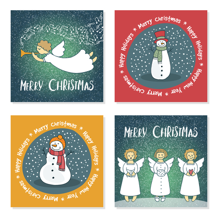 set of vector Christmas cards with angels and snowmen