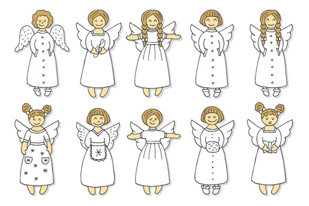 set of colored angel icons