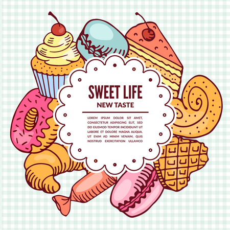 confectionery desserts. Bakery and cafe. Vector illustration