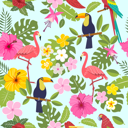 Seamless pattern with toucan, flamingo, tropical leaves and flowers on background 向量圖像