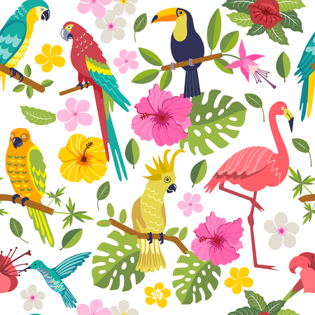 Seamless pattern with macaw, toucan, flamingo, tropical leaves and flowers on white background Ilustração