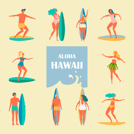 Different people with surfers illustration of a flat design