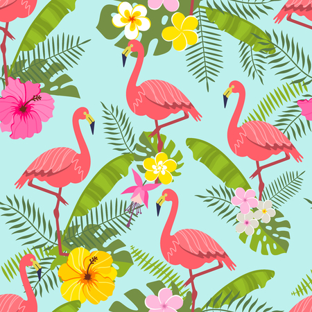 set of tropical flowers of leaves and birds background 矢量图像