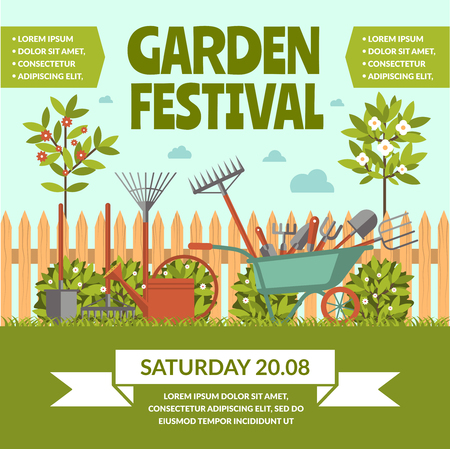 Garden festival template poster vector illustration Illustration